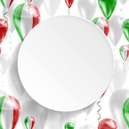 feast day: Flag of Italy. Independence Day. Flag of Micronesia on air balloon. Celebration and gifts. Balloons on the feast of the national day.  Use for brochures, printed materials, signs, elements