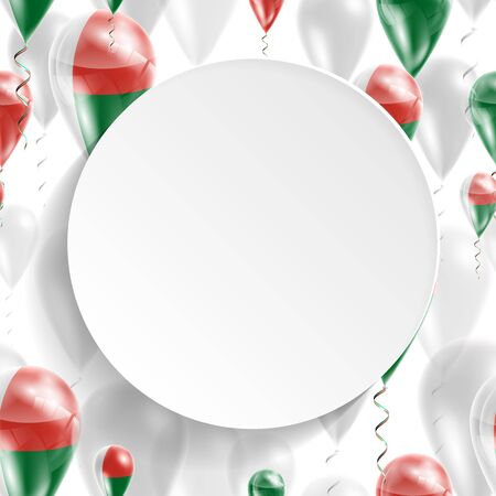 feast: Madagascar national flag. Independence Day. Flag of Micronesia on air balloon. Celebration and gifts. Balloons on the feast of the national day.  Use for brochures, printed materials, signs, elements Illustration