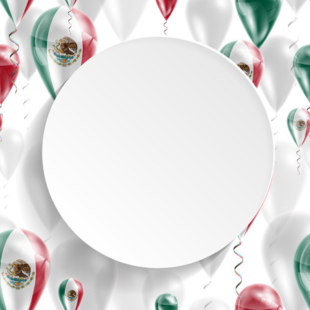 feast day: Flag of Mexico. Independence Day. Flag of Micronesia on air balloon. Celebration and gifts. Balloons on the feast of the national day.  Use for brochures, printed materials, signs, elements