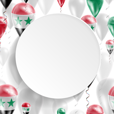 feast day: Flag of Syria. Independence Day. Flag of Micronesia on air balloon. Celebration and gifts. Balloons on the feast of the national day.  Use for brochures, printed materials, signs, elements