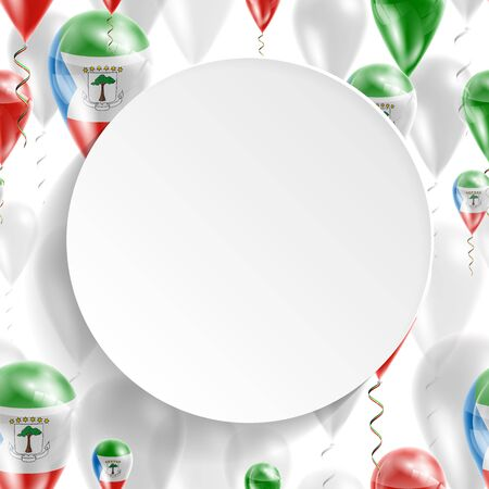feast: Flag of Equatorial Guinea. Independence Day. Flag of Micronesia on air balloon. Celebration and gifts. Balloons on the feast of the national day.  Use for brochures, printed materials, signs, elements Illustration