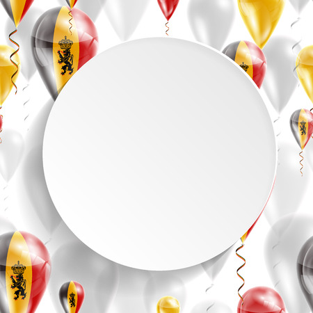 feast: Flag of Belgium. Independence Day. Flag of Micronesia on air balloon. Celebration and gifts. Balloons on the feast of the national day.  Use for brochures, printed materials, signs, elements