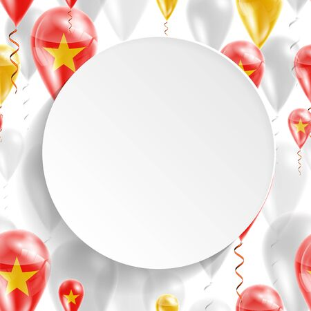 feast day: Flag of Vietnam. Independence Day. Flag of Micronesia on air balloon. Celebration and gifts. Balloons on the feast of the national day.  Use for brochures, printed materials, signs, elements