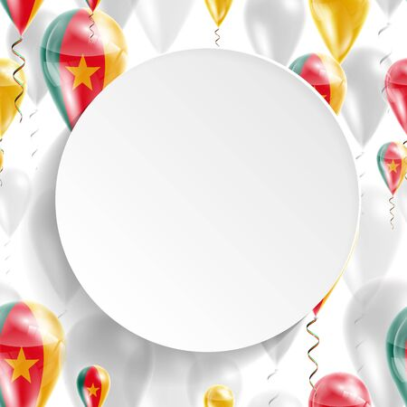 feast day: Flag of Cameroon. Independence Day. Flag of Micronesia on air balloon. Celebration and gifts. Balloons on the feast of the national day.  Use for brochures, printed materials, signs, elements