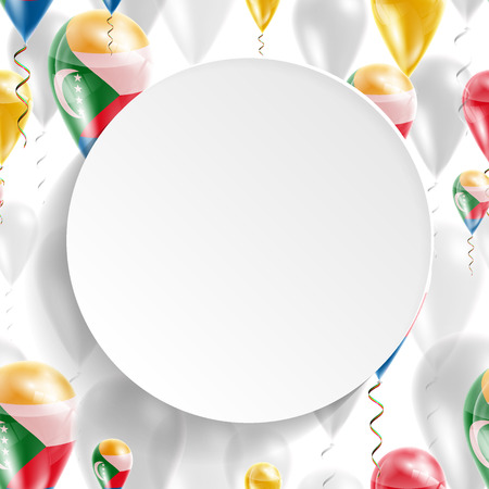 feast day: Flag of Comoros. Independence Day. Flag of Micronesia on air balloon. Celebration and gifts. Balloons on the feast of the national day.  Use for brochures, printed materials, signs, elements