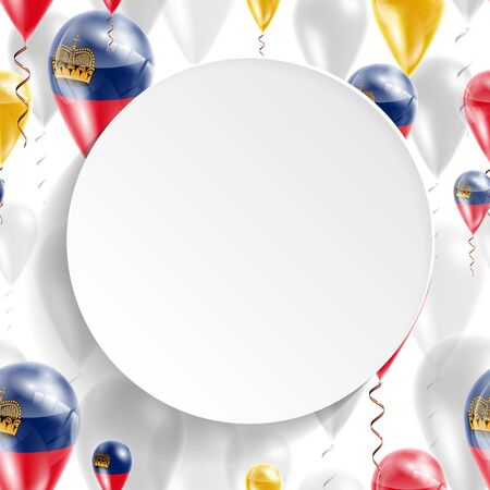 feast: Flag of Liechtenstein. Independence Day. Flag of Micronesia on air balloon. Celebration and gifts. Balloons on the feast of the national day.  Use for brochures, printed materials, signs, elements Illustration