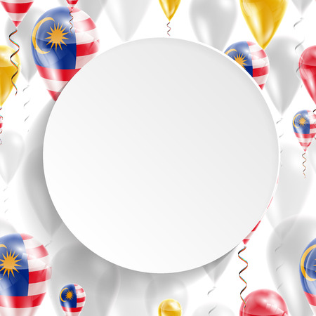 Flag of Malaysia. Independence Day. Flag of Micronesia on air balloon. Celebration and gifts. Balloons on the feast of the national day. Use for brochures, printed materials, signs, elements Vector Illustration