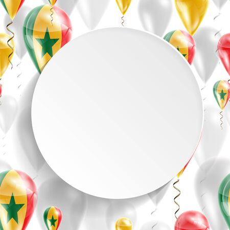 feast day: Flag of Senegal. Independence Day. Flag of Micronesia on air balloon. Celebration and gifts. Balloons on the feast of the national day.  Use for brochures, printed materials, signs, elements