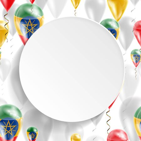 feast: Flag of Ethiopia. Independence Day. Flag of Micronesia on air balloon. Celebration and gifts. Balloons on the feast of the national day.  Use for brochures, printed materials, signs, elements