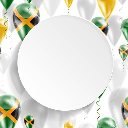 jamaica: Flag of Jamaica. Independence Day. Flag of Micronesia on air balloon. Celebration and gifts. Balloons on the feast of the national day.  Use for brochures, printed materials, signs, elements