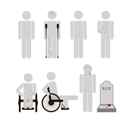 bandaged: Stock vector set of isolated characters, disabled, bandaged hands, legs, head, neck, consequences on crutches, wheelchair in flat style  for icons, websites, printed materials, games, motion design
