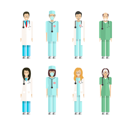 otolaryngologist: Stock vector set of isolated characters, doctors, nurses, male nurse, ambulance staff, therapists of polyclinics, medical staff of clinics in flat style  for icons, websites, printed materials
