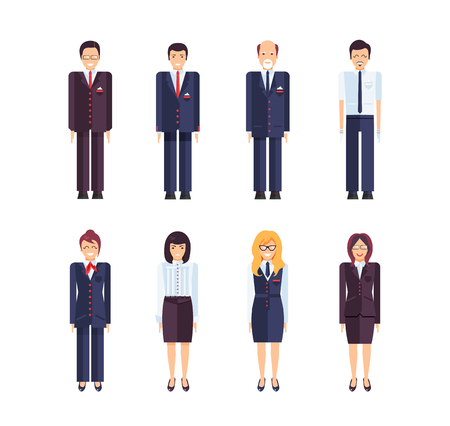 in common: Stock vector set of isolated characters, manager, regional director, secretary, office manager, sales manager, bank employee in flat style for icons, websites, printed materials, games, motion design