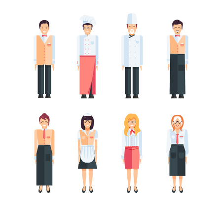 confectioner: Stock vector set of isolated characters, kitchen workers, staff cafes and restaurants, cook, chef, confectioner, waiter in flat style  for icons, websites, printed materials, games, motion design Illustration