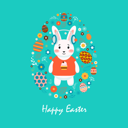 printed material: Stock vector illustration Happy Easter bunny in T-shirt with cupcake, colored eggs, spring decoration, leaves, flowers in flat style on blue background to printed material, website, postcard, greeting