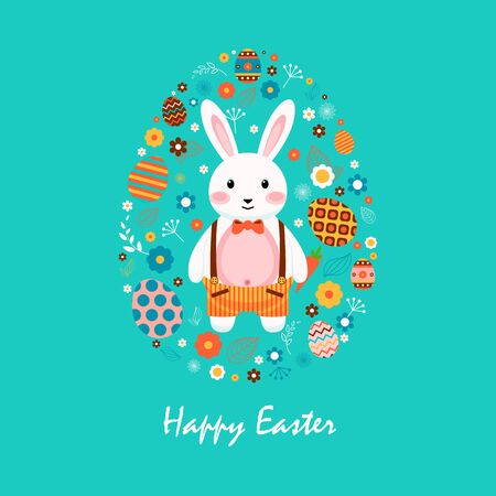 boy shorts: Stock vector illustration Happy Easter bunny in shorts with braces, colored eggs, spring decoration, leaves, flowers in flat style on blue background to printed materials, website, postcard, greeting
