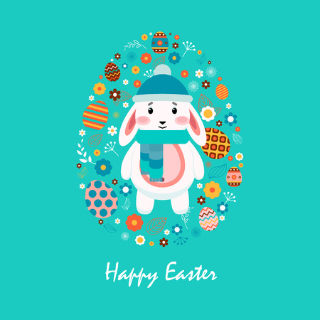 pompon: Stock vector illustration Happy Easter bunny cap pompon, scarf, colored Easter egg, spring decoration, leave, flowers in flat style on blue background to printed materials, website, postcard, greeting Illustration