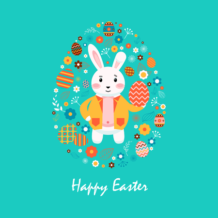 yellow jacket: Stock vector illustration Happy Easter bunny in yellow jacket, colored Easter eggs, spring decoration, leave, flowers in flat style on blue background to printed materials, website, postcard, greeting