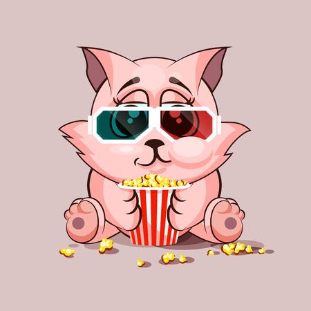 watching movie: Stock Illustration Emoji character cartoon cat chewing popcorn, watching movie in 3D glasses sticker emoticon