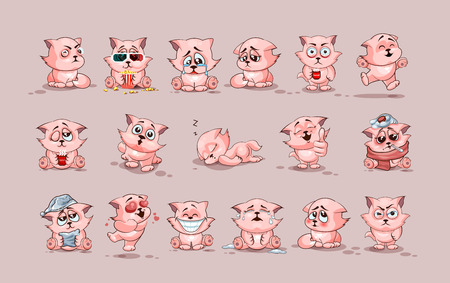 Stock Illustrations isolated Emoji character cartoon cat stickers emoticons with different emotions Vettoriali
