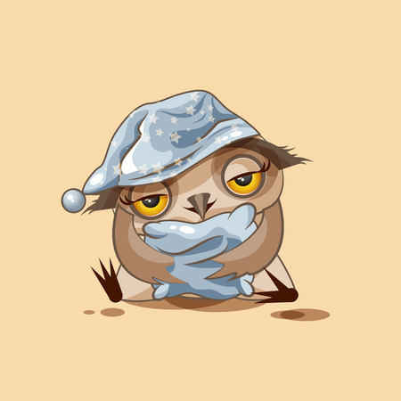 cartoon owl: Vector Stock Illustration isolated Emoji character cartoon sleepy owl in nightcap with pillow sticker emoticon for site, infographics, video, animation, websites, e-mails, newsletters, reports, comics