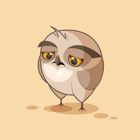 grimace: Vector Stock Illustration isolated Emoji character cartoon owl sad and frustrated sticker emoticon for site, infographics, video, animation, websites, e-mails, newsletters, reports, comics