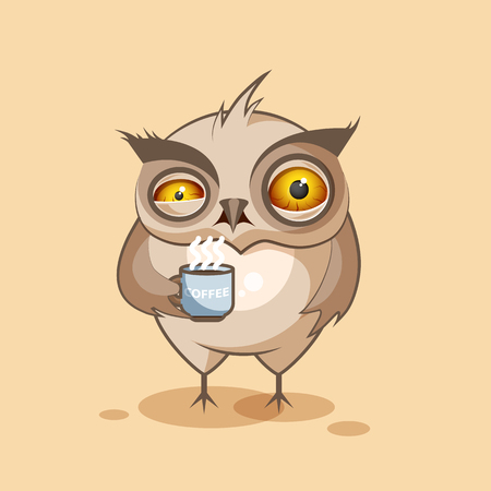owls: Vector Stock Illustration isolated Emoji character cartoon owl nervous with cup of coffee sticker emoticon for site, infographics, video, animation, websites, e-mails, newsletters, reports, comics Illustration