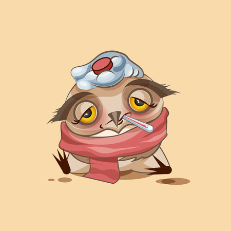 bird flu: Vector Stock Illustration isolated Emoji character cartoon owl sick with thermometer in mouth sticker emoticon for site, infographics, video, animation, websites, e-mails, newsletters, reports, comics