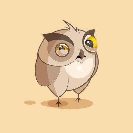 resentment: Vector Stock Illustration isolated Emoji character cartoon owl squints and looks suspiciously sticker emoticon for site, infographics, video, animation, websites, e-mails, newsletters, reports, comics