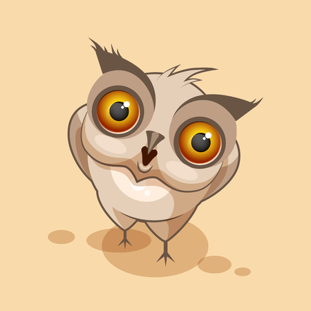 big eyes: Vector Stock Illustration isolated Emoji character cartoon owl surprised with big eyes sticker emoticon for site, infographics, video, animation, websites, e-mails, newsletters, reports, comics