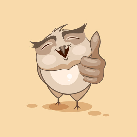 complacent: Vector Stock Illustration isolated Emoji character cartoon owl approves with thumb up sticker emoticon for site, infographics, video, animation, websites, e-mails, newsletters, reports, comics