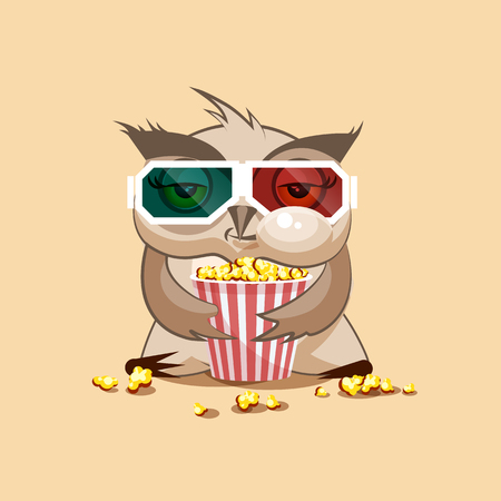 animation: Vector Stock Illustration Emoji character cartoon owl chewing popcorn, watching movie in 3D glasses sticker emoticon for site, infographic, video, animation, website, e-mail, newsletter, report, comic