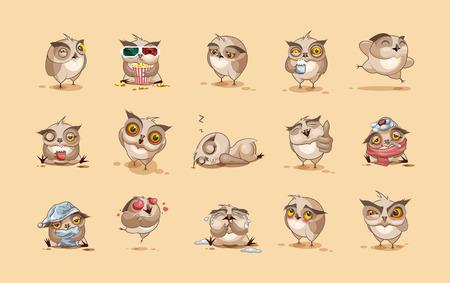 personnage: Set Vector Illustrations isolées Emoji hibou de bande dessinée de caractères autocollants émoticônes avec des émotions différentes pour le site, infographies, vidéo, animation, sites Internet, e-mails, bulletins, rapports, bandes dessinées Illustration