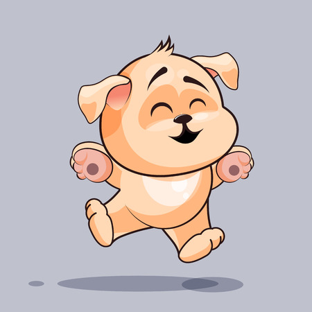 hover: Vector Stock Illustration isolated Emoji character cartoon dog jumping for joy, happy sticker emoticon for site, infographics, video, animation, websites, e-mails, newsletters, reports, comics