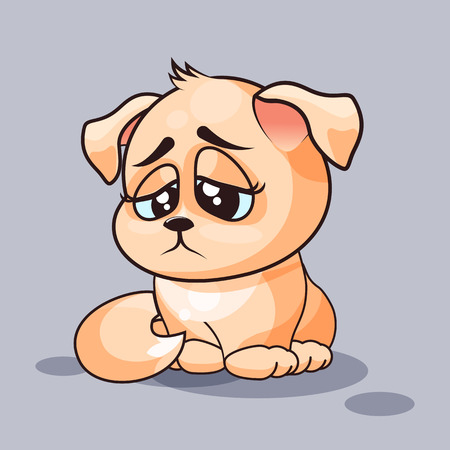 eyes looking down: Vector Stock Illustration isolated Emoji character cartoon dog sad and frustrated sticker emoticon for site, infographics, video, animation, websites, e-mails, newsletters, reports, comics
