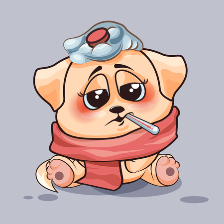 cold pack: Vector Stock Illustration isolated Emoji character cartoon dog sick with thermometer in mouth sticker emoticon for site, infographics, video, animation, websites, e-mails, newsletters, reports, comics