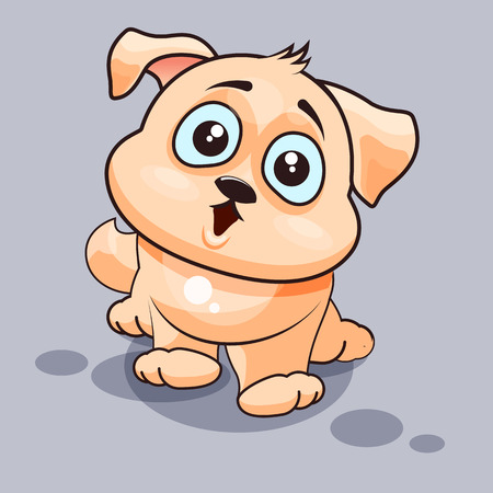 big eyes: Vector Stock Illustration isolated Emoji character cartoon dog surprised with big eyes sticker emoticon for site, infographics, video, animation, websites, e-mails, newsletters, reports, comics