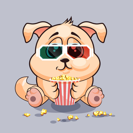 watching movie: Vector Stock Illustration Emoji character cartoon dog chewing popcorn, watching movie in 3D glasses sticker emoticon for site, infographic, video, animation, website, e-mail, newsletter, report, comic Illustration