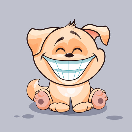 Vector Stock Illustration isolated Emoji character cartoon dog with a huge smile from ear to ear sticker emoticon for site, infographics, video, animation, website, e-mail, newsletter, reports, comics Illustration