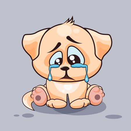 Vector Illustration isolé Emoji dessin animé caractère de chien triste et frustré pleurer, les larmes autocollant émoticône pour le site, infographies, vidéo, animation, sites Internet, e-mails, des bulletins d'information, rapport, bande dessinée