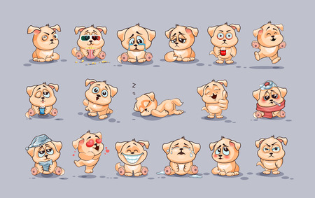 Set Vector Stock Illustrations isolated Emoji character cartoon dog stickers emoticons with different emotions for site, infographics, video, animation, websites, e-mails, newsletters, reports, comics Ilustração
