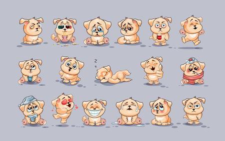 Set-Vektor Stock Illustrationen Emoji-Zeichen Cartoon-Hund Aufkleber Emoticons für Website mit verschiedenen Emotionen isoliert, Infografiken, Video, Animation, Webseiten, E-Mails, Newsletter, Berichte, Comics