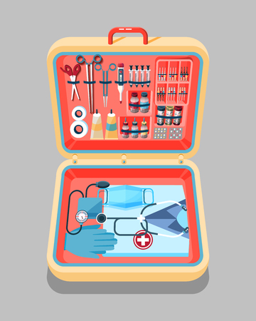 medical supplies: Set Stock vector illustration of medical supplies, drugs, pills, tools, clothing in medical suitcase in isometry flat style element for infographic, website, icon, games, motion design, video
