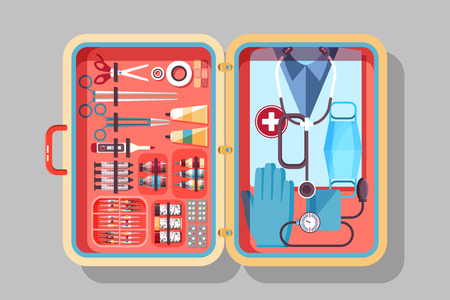 medical supplies: Set Stock vector illustration of medical supplies, drugs, pills, tools, clothing in medical suitcase in flat style element for infographic, website, icon, games, motion design, video
