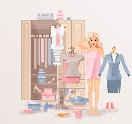 scratching head: Stock vector illustration of puzzled girl after shower wrapped in towel near closet with huge selection of scattered clothing and shoes for infographic, website, icon, games, motion design, video