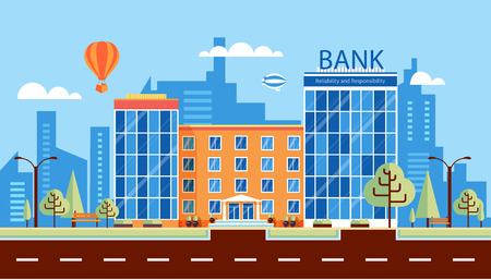 medium: Stock vector illustration city street with multi-storey bank building, modern architectures, facade in flat style element for infographic, website, icon, games, motion design, video
