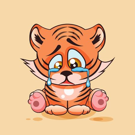 Tiger cub: Vector aislado de la ilustraci�n de dibujos animados car�cter Emoji triste, frustrado del cachorro de tigre de llorar, las l�grimas emoticono personalizado para el sitio, infograf�a, video, animaci�n, p�gina web, correo electr�nico, noticias, informe, c�mico Vectores