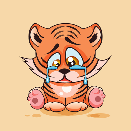 eyes looking down: Vector Stock Illustration isolated Emoji character cartoon sad, frustrated Tiger cub crying, tears sticker emoticon for site, infographic, video, animation, website, e-mail, newsletter, report, comic Illustration