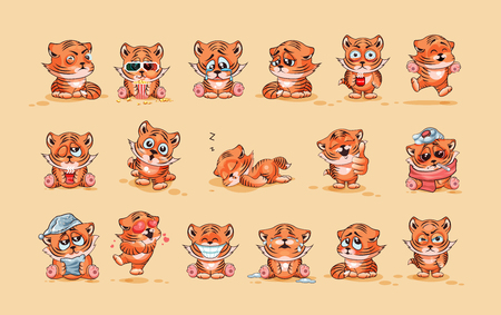 wake up happy: Set Vector Stock Illustrations isolated Emoji character cartoon Tiger cub sticker emoticons with different emotions for site, infographics, video, animation, website, e-mail, newsletter, report, comic