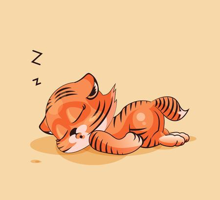 Tiger cub: Vector de la ilustraci�n Emoji personaje de dibujos animados Tigre cachorro duerme en el est�mago emoticono pegatina para el sitio, infograf�as, v�deos, animaciones, p�ginas web, correos electr�nicos, boletines, informes, c�mics Vectores